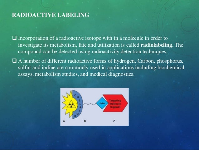 RADIOACTIVE LABELING  Incorporation of a radioactive isotope with in a molecule in order to investigate its metabolism, f...