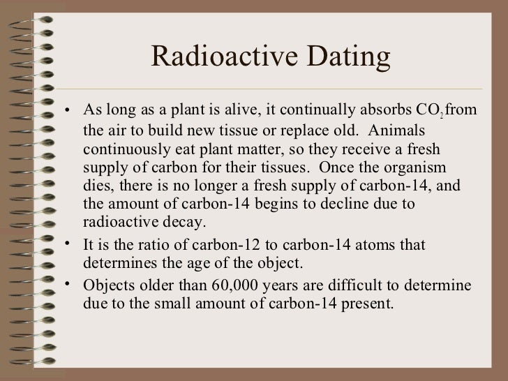 To use radioactive dating for a substance you must know the substances