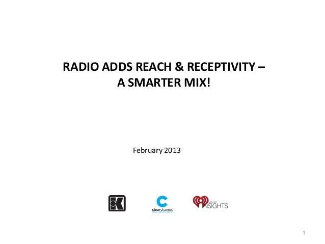 RADIO ADDS REACH & RECEPTIVITY –        A SMARTER MIX!           February 2013                                   1