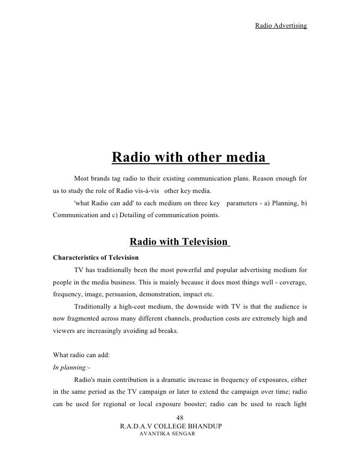 Radio advertisement script.