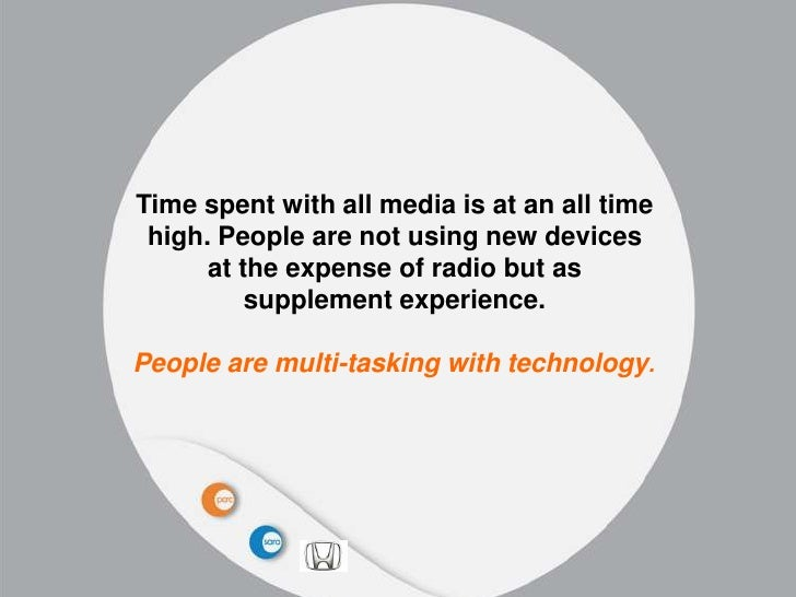 Time spent with all media is at an all time high. People are not using new devices      at the expense of radio but as    ...