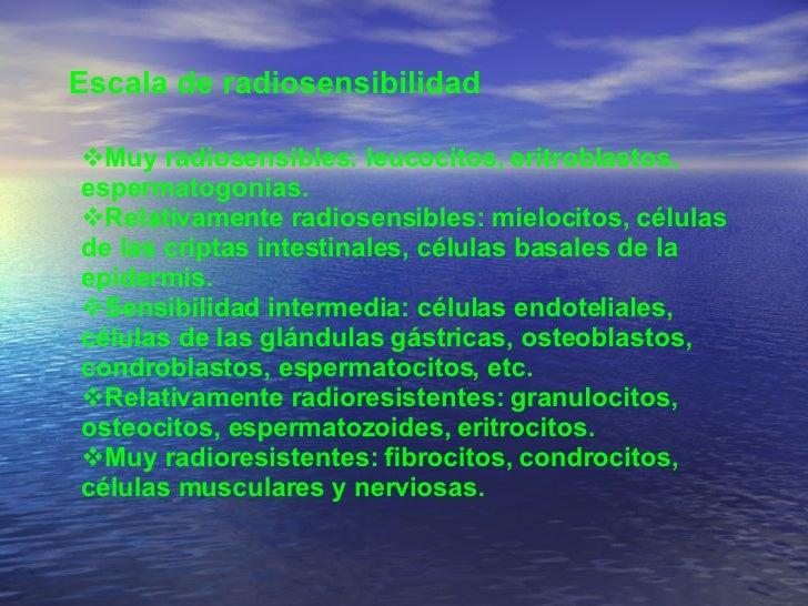 Escala de radiosensibilidad  <ul><li>Muy radiosensibles: leucocitos, eritroblastos, espermatogonias.  </li></ul><ul><li>Re...