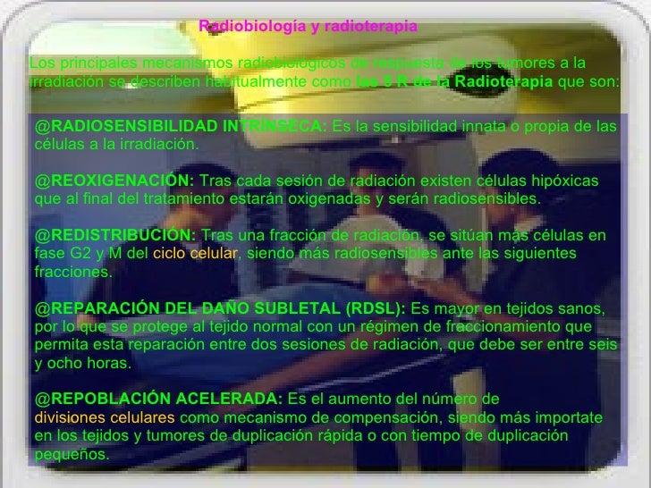 Radiobiología y radioterapia  Los principales mecanismos radiobiológicos de respuesta de los tumores a la irradiación se d...