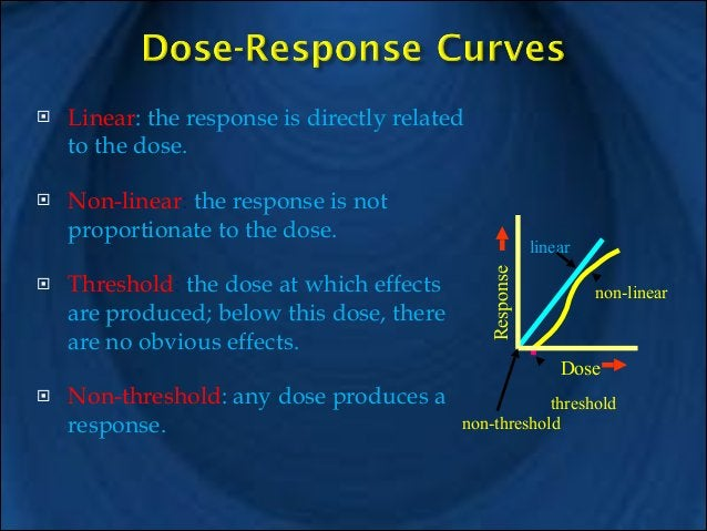 !  !  !  Linear: the response is directly related to the dose. ! Non-linear: the response is not proportionate to the dose...