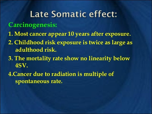 !  !  Incidence of leukemia rises following exposure to radiation from 5-30 years. Children under 20 are more at risk than...