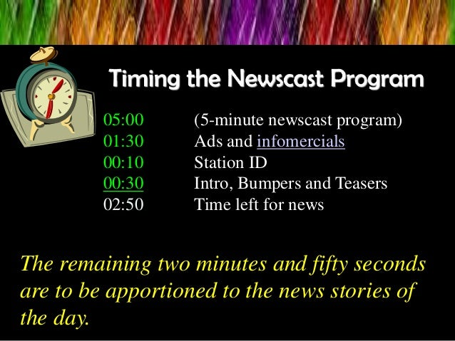 05:00 (5-minute newscast program) 01:30 Ads and infomercials 00:10 Station ID 00:30 Intro, Bumpers and Teasers 02:50 Time ...
