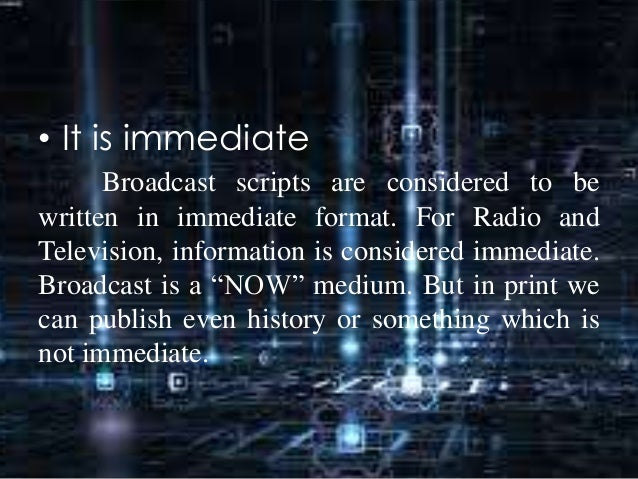 Radio Broadcasting and Scriptwriting