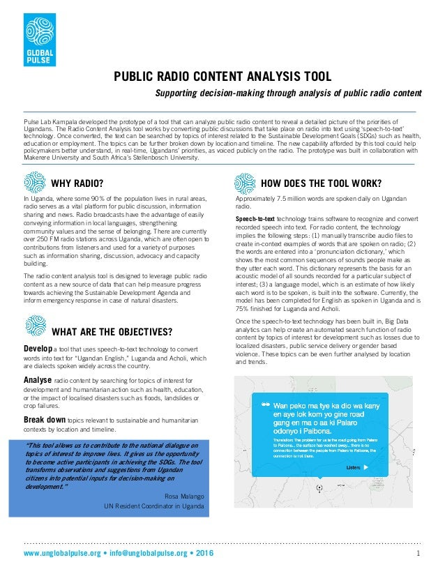 www.unglobalpulse.org • info@unglobalpulse.org • 2016 1 PUBLIC RADIO CONTENT ANALYSIS TOOL Supporting decision-making thro...