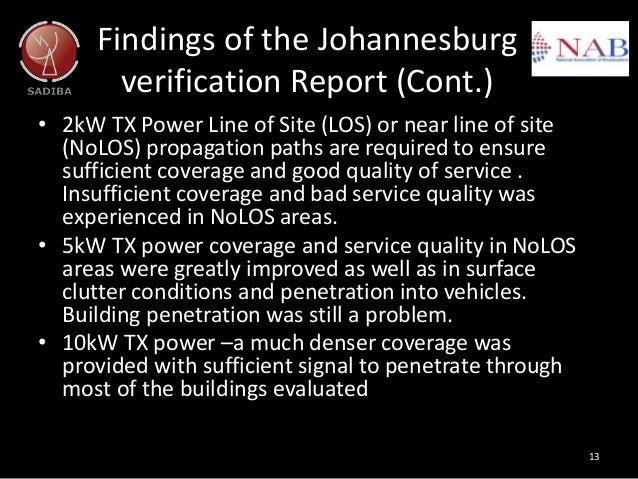Findings of the Johannesburg verification Report (Cont.) • 2kW TX Power Line of Site (LOS) or near line of site (NoLOS) pr...