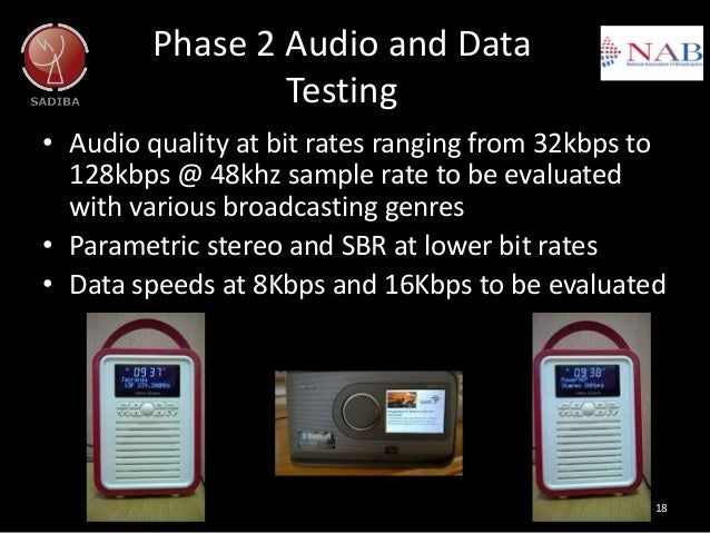 Phase 2 Audio and Data Testing • Audio quality at bit rates ranging from 32kbps to 128kbps @ 48khz sample rate to be evalu...
