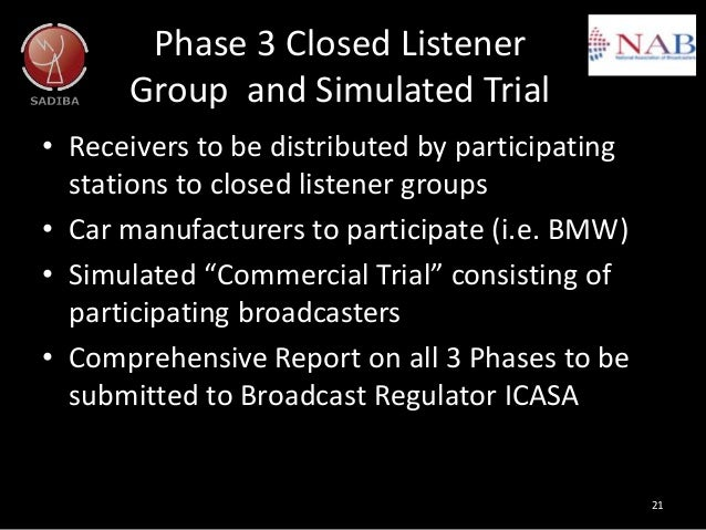 Phase 3 Closed Listener Group and Simulated Trial • Receivers to be distributed by participating stations to closed listen...