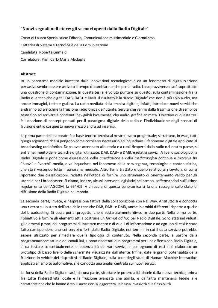 """""""Nuovi segnali nell'etere: gli scenari aperti dalla Radio Digitale""""Corso di Laurea Specialistica: Editoria, Comunicazione ..."""