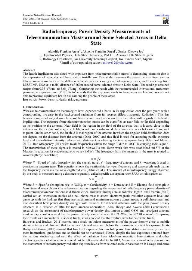 Journal of Natural Sciences Research www.iiste.org ISSN 2224-3186 (Paper) ISSN 2225-0921 (Online) Vol.4, No.15, 2014 77 Ra...
