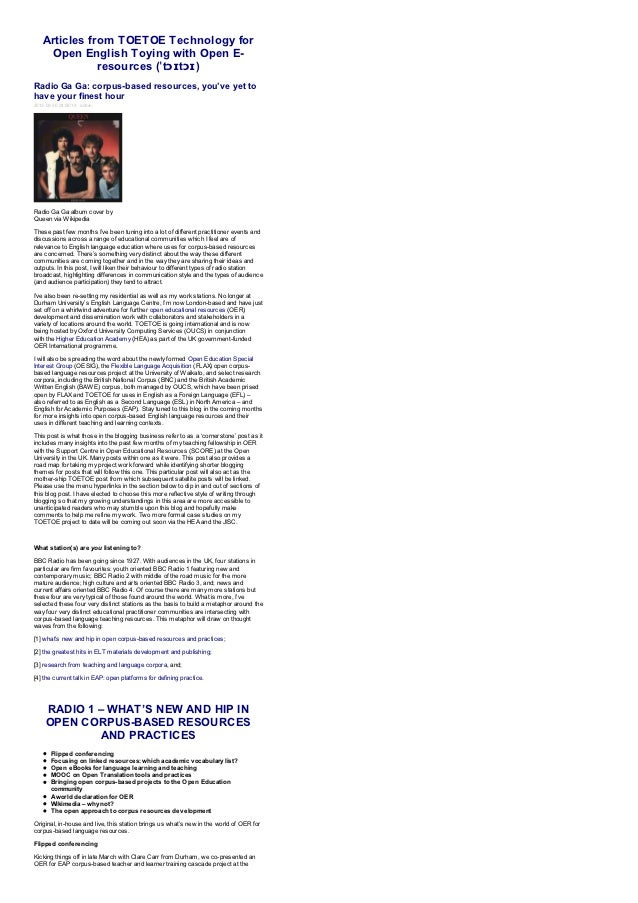 Articles from TOETOE Technology for    Open English Toying with Open E-              resources (ˈtɔɪtɔɪ)Radio Ga Ga: corpu...