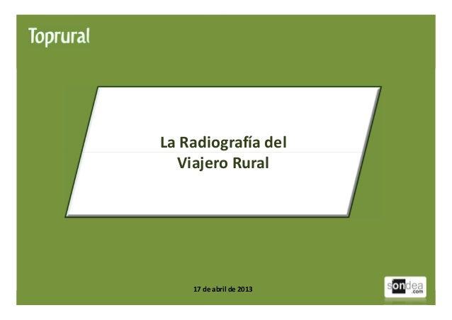 Radiografía del Viajero Rural 2013 http://www.toprural.com1La Radiografía delViajero Rural17 de abril de 2013