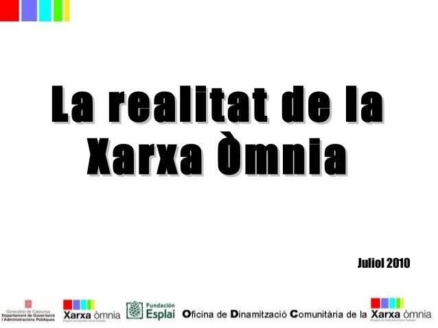 La realitat de laLa realitat de la Xarxa ÒmniaXarxa Òmnia Juliol 2010