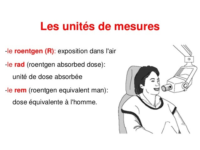 -le roentgen (R): exposition dans l'air -le rad (roentgen absorbed dose): unité de dose absorbée -le rem (roentgen equival...