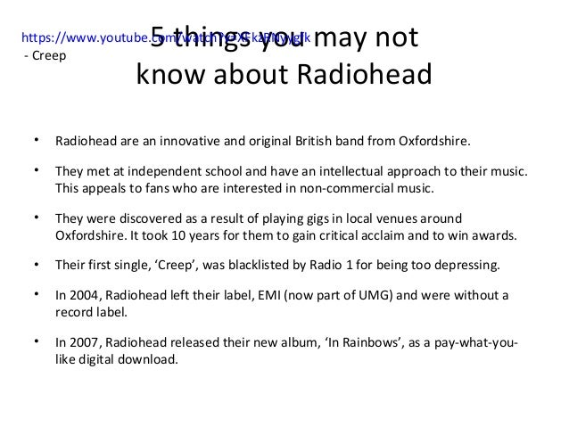 Analysis of creep by radiohead | College paper Service ...