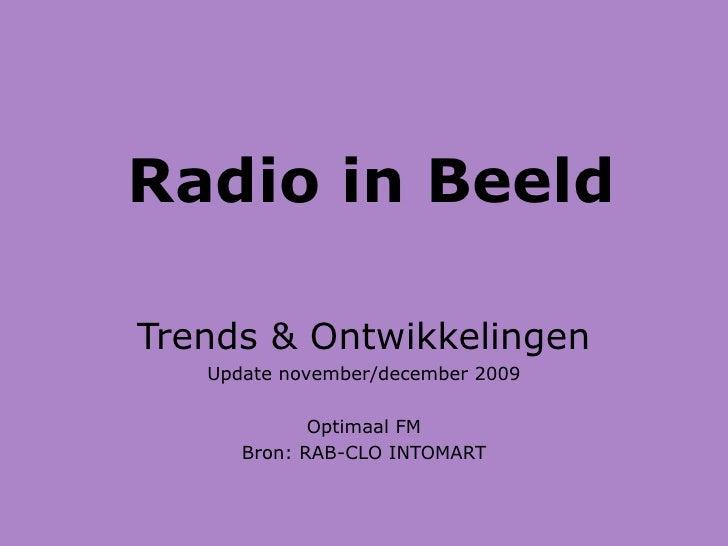 Radio in Beeld Trends & Ontwikkelingen Update november/december 2009 Optimaal FM Bron: RAB-CLO INTOMART