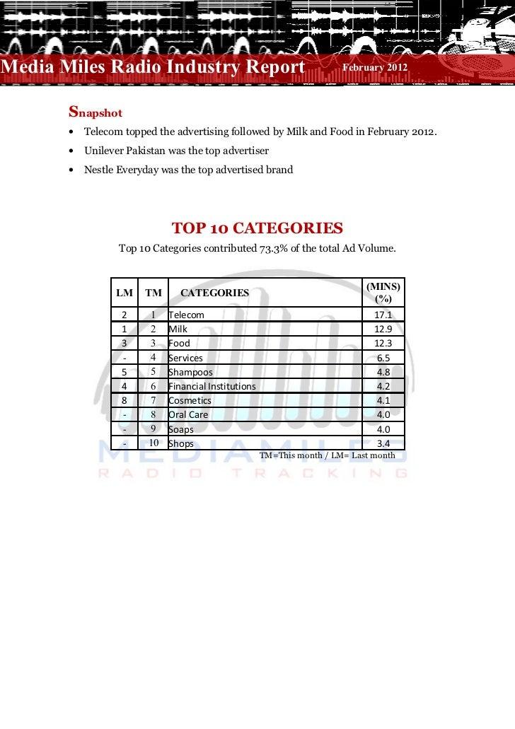 Media Miles Radio Industry Report                                   − February 2012       Snapshot       •   Telecom toppe...