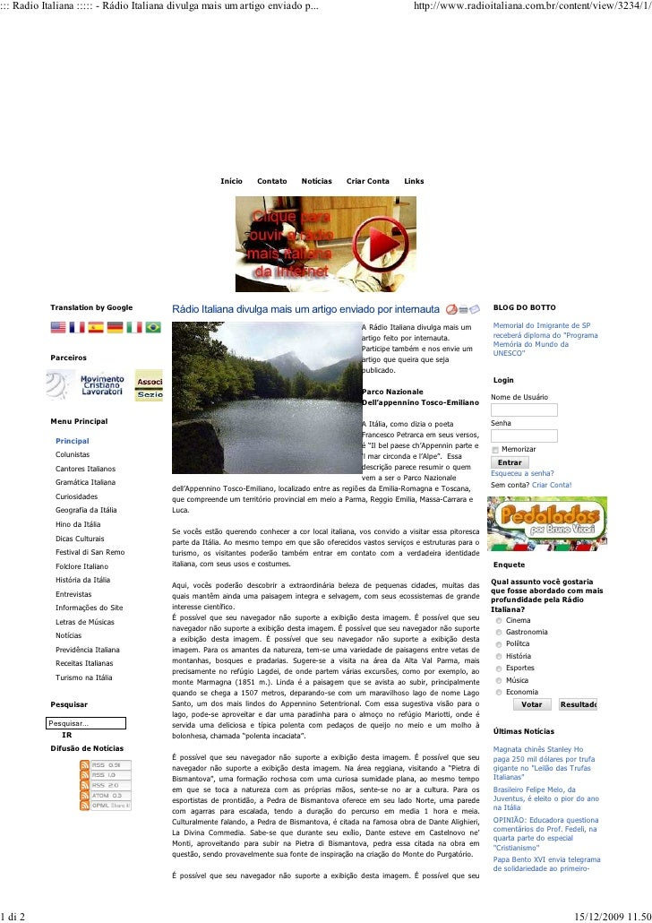 ::: Radio Italiana ::::: - Rádio Italiana divulga mais um artigo enviado p...                                    http://ww...