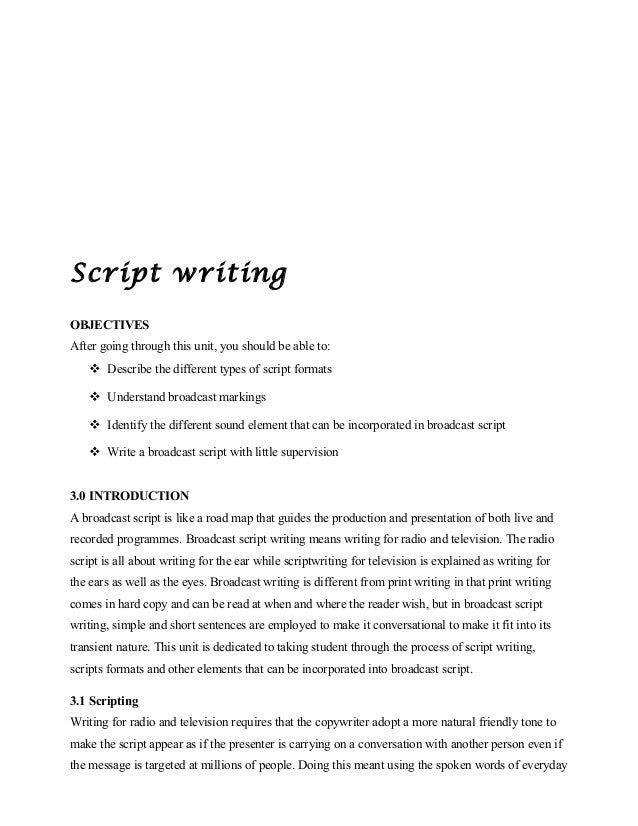 script writing for radio and television pdf
