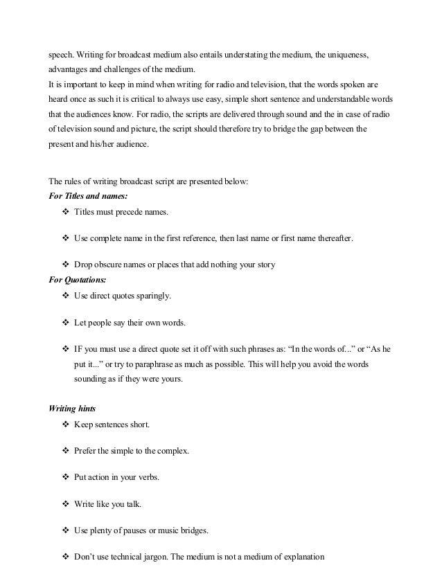 radio news script format