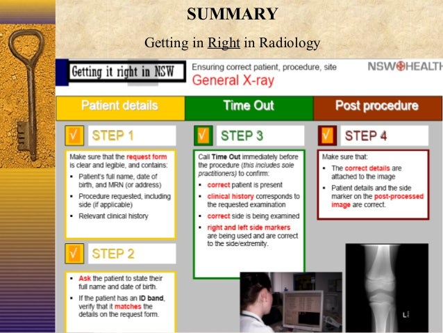 SUMMARY Getting in Right in Radiology