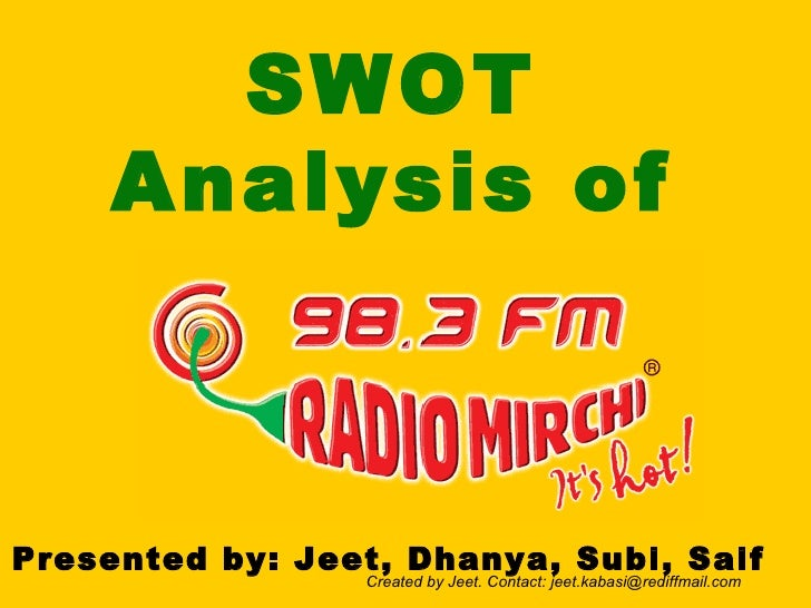 SWOT   Analysis of Presented by: Jeet, Dhanya, Subi, Saif Created by Jeet. Contact: jeet.kabasi@rediffmail.com