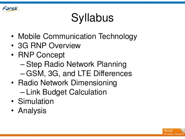 3G Radio Network Planning Slide 2