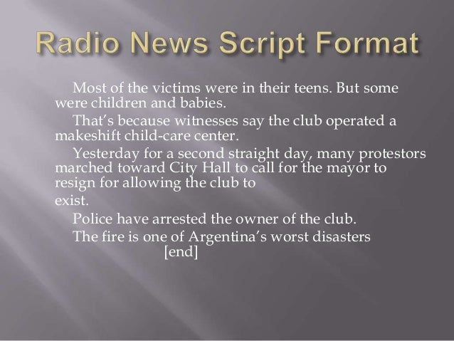 Radio News Script Format Slide 2