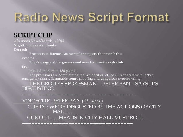 Radio News Script Format Slide 3