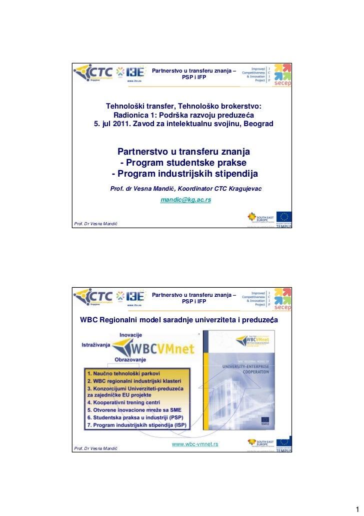 Partnerstvo u transferu znanja –                                         PSP i IFP             Tehnološki transfer, Tehnol...