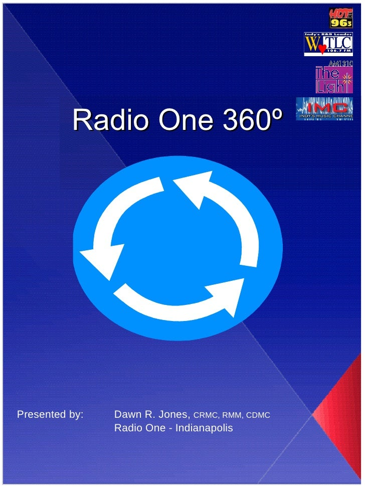 Radio One 360 º Presented by: Dawn R. Jones,  CRMC, RMM, CDMC Radio One - Indianapolis