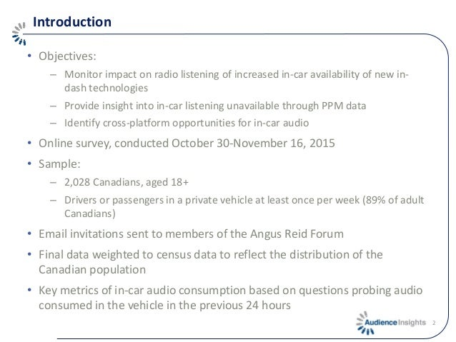 Introduction • Objectives: – Monitor impact on radio listening of increased in-car availability of new in- dash technologi...