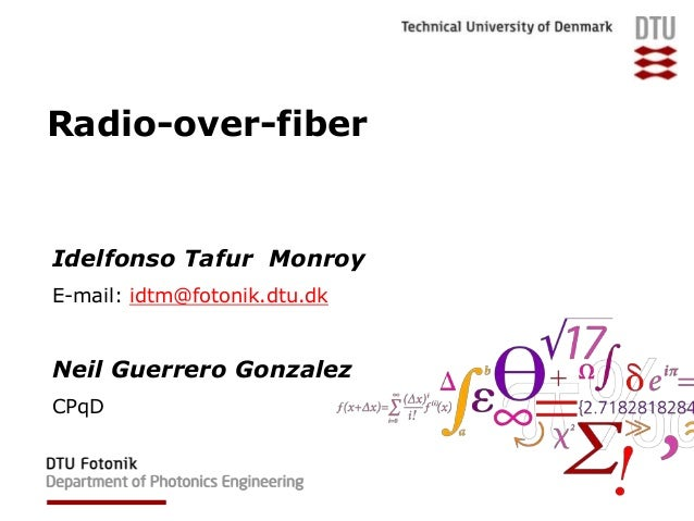 thesis on radio over fiber Techniques for nonlinear distortion suppression in radio over fiber communication systems biagio masella a thesis in the department of electrical and computer engineering.