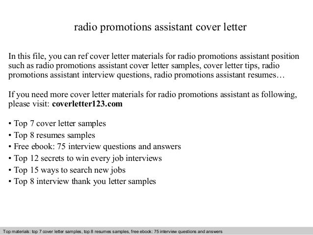 Radio Promotions Assistant Cover Letter