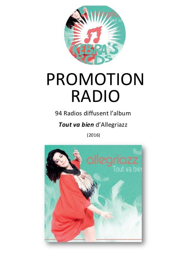 PROMOTION RADIO 94 Radios diffusent l'album Tout va bien (2016) d'Allegriazz