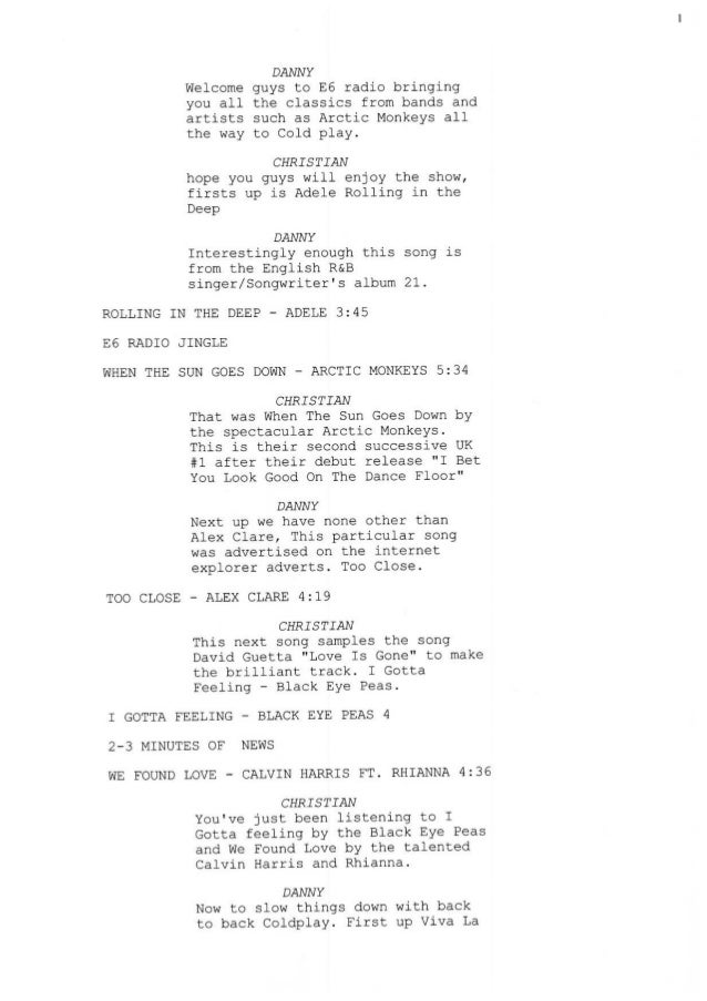 documentary pre shoot script