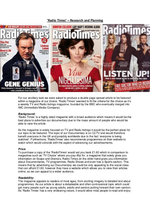 'Radio Times' – Research and PlanningFor our ancillary task we were asked to produce a double page spread article to be fe...