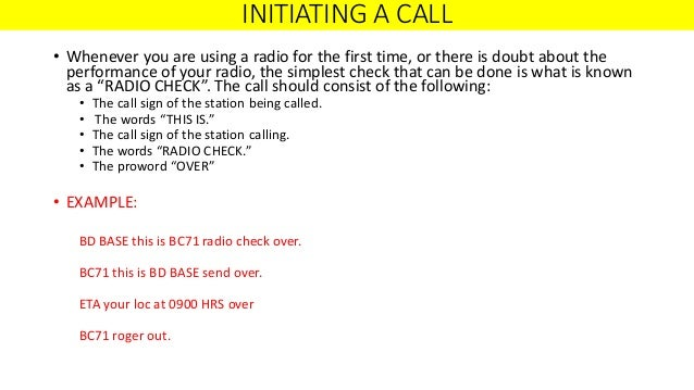 Army Radio Etiquette Powerpoint - 0425