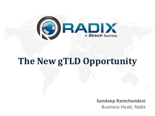 A      BusinessThe New gTLD Opportunity                 Sandeep Ramchandani                   Business Head, Radix