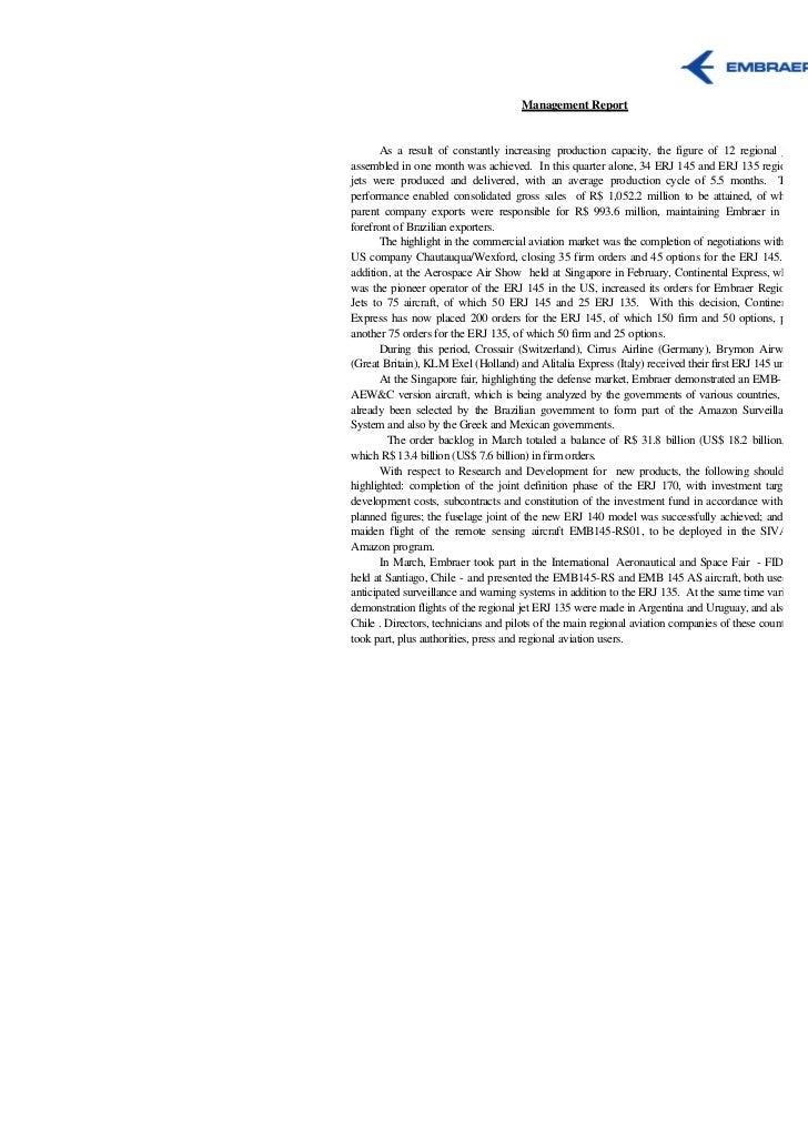 Management Report       As a result of constantly increasing production capacity, the figure of 12 regional jetsassembled ...