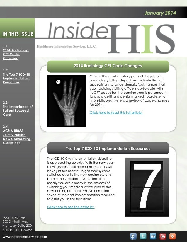 January 2014  In This Issue 1.1 2014 Radiology CPT Code Changes  2014 Radiology CPT Code Changes 1.2 The Top 7 ICD-10 Impl...