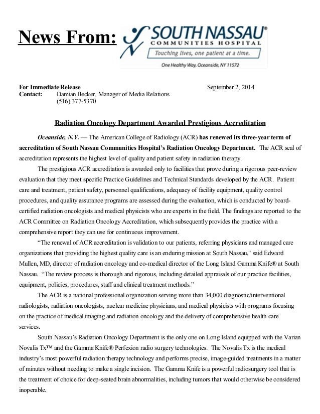 News From:  For Immediate Release September 2, 2014  Contact: Damian Becker, Manager of Media Relations  (516) 377-5370  R...