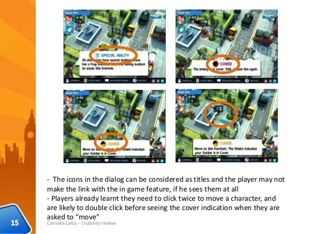 Cornelia Laros – Usability review - The icons in the dialog can be considered as titles and the player may not make the li...