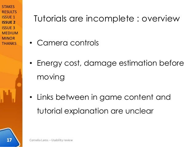 Tutorials are incomplete : overview • Camera controls • Energy cost, damage estimation before moving • Links between in ga...