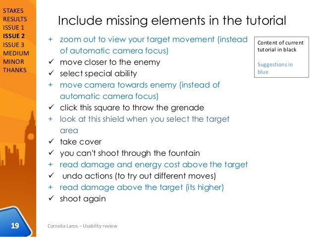 Include missing elements in the tutorial + zoom out to view your target movement (instead of automatic camera focus)  mov...