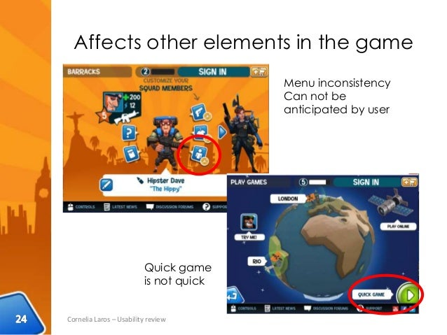 Affects other elements in the game Cornelia Laros – Usability review Menu inconsistency Can not be anticipated by user Qui...