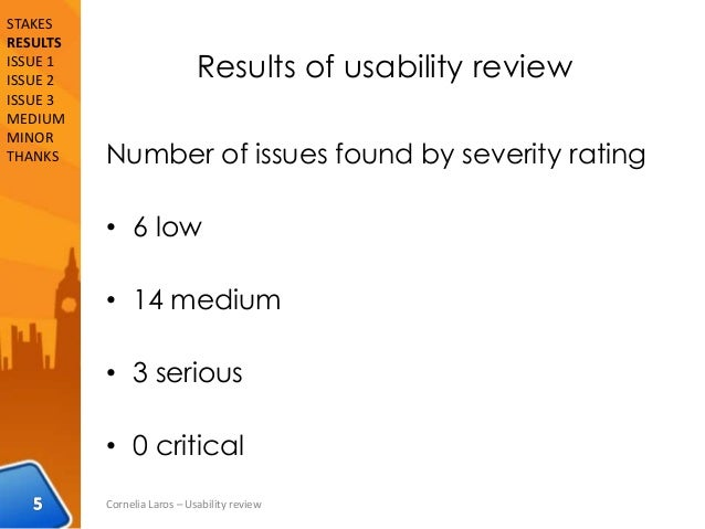 Results of usability review Number of issues found by severity rating • 6 low • 14 medium • 3 serious • 0 critical Corneli...
